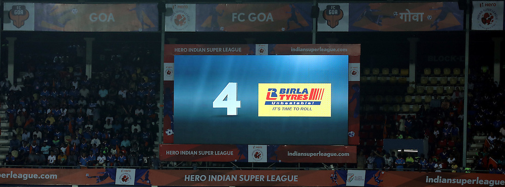 Gaint screen during match 8 of the Indian Super League (ISL) season 3 between FC Goa and FC Pune City held at the Fatorda Stadium in Goa, India on the 8th October 2016.<br /> <br /> Photo by Sandeep Shetty / ISL/ SPORTZPICS