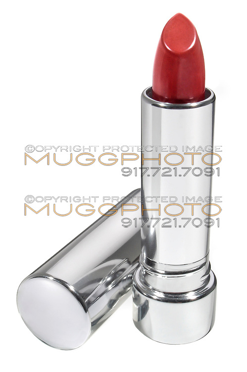 red lipstick in a silver case