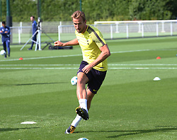 September 12, 2017 - Enfield, Greater London, United Kingdom - Tottenham Hotspur's Harry Kane.during a Tottenham Hotspur training session ahead of the UEFA Champions League Group H match against Borussia Dortmund  at Tottenham Hotspur Training centre on 12 Sept , 2017 in Enfield, England. (Credit Image: © Kieran Galvin/NurPhoto via ZUMA Press)