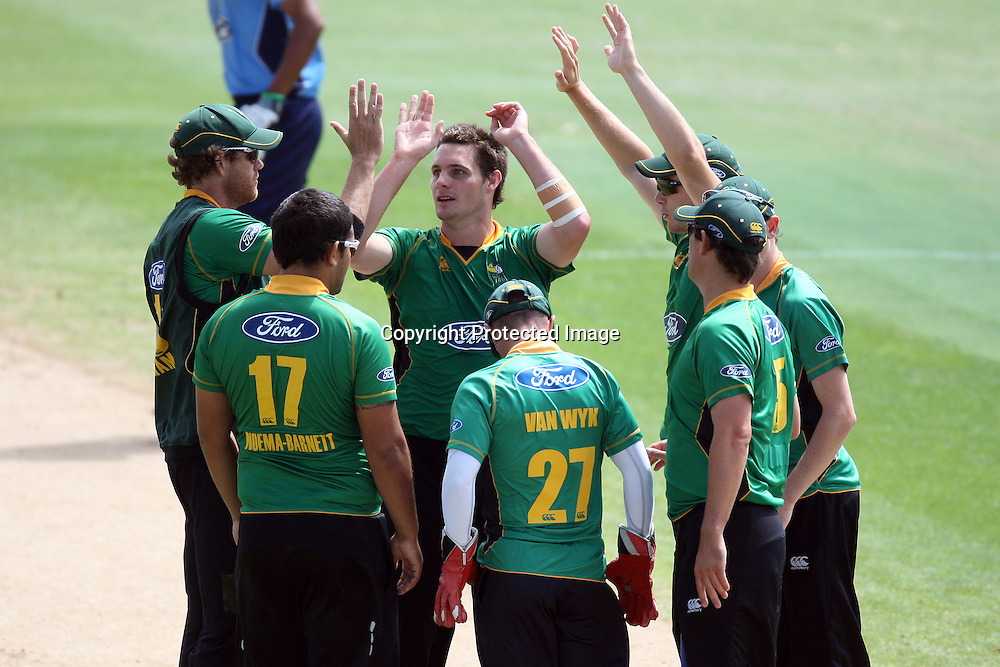 Central Stags celebrate Lou Vincents wicket. Auckland Aces v Central Stags, One Day Cricket. Colin Maiden Park, Auckland, Wednesday 19 January 2011. Photo: Ella Brockelsby/photosport.co.nz