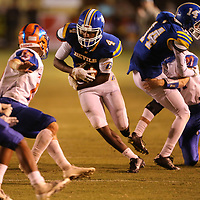 Booneville's Dallas Gamble rushes for yards against North Pontotoc defense in the second quarter.