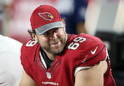 Arizona Cardinals guard Evan Mathis (69) smiles on the sideline during the 2016 NFL preseason football game against the Oakland Raiders on Friday, Aug. 12, 2016 in Glendale, Ariz. The Raiders won the game 31-10. (©Paul Anthony Spinelli)