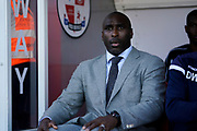 Macclesfield Town manager Sol Campbell during the EFL Sky Bet League 2 match between Crawley Town and Macclesfield Town at The People's Pension Stadium, Crawley, England on 23 February 2019.