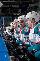 KELOWNA, CANADA - FEBRUARY 1: Erik Gardiner #12 of the Kelowna Rockets sits on the bench against the Calgary Hitmen on February 1, 2017 at Prospera Place in Kelowna, British Columbia, Canada.  (Photo by Marissa Baecker/Shoot the Breeze)  *** Local Caption ***