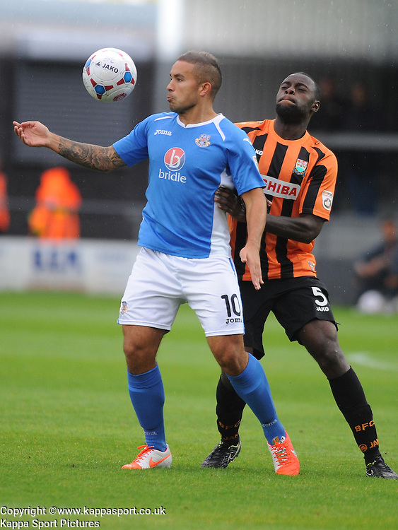 Jai Reason Eatleigh, is held of By Barnets Bondz N'Gala, Barnet v Eastleigh, Vanarama Conference, Saturday 4th October 2014