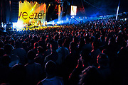 Weezer performs under the pavilion during the Virgin Freefest music festival at Merriweather Post Pavilion.
