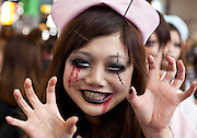 A young woman dressed in a nurse's costums to celebrate Halloween in Shibuya, Tokyo, Japan. Thursday, October 31st 2013
