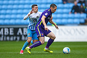 Coventry City midfielder Ruben Lameiras (8) and Charlton Athletic midfielder Andrew Crofts (8) battle it out during the EFL Sky Bet League 1 match between Coventry City and Charlton Athletic at the Ricoh Arena, Coventry, England on 14 April 2017. Photo by Simon Davies.