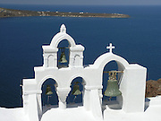 Greek Orthodox church, exterior, bell tower, white, Aegean Sea, Oia, Cycladic architecture