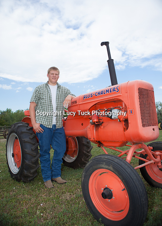 High School Senior with a tractor, Senior Picture, Niwot, Colorado