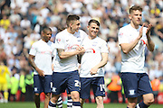 Jordan Hugill and Joe Garner during the Sky Bet Championship match between Preston North End and Leeds United at Deepdale, Preston, England on 7 May 2016. Photo by Pete Burns.