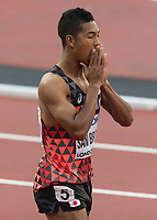 Athletics - 2017 IAAF London World Athletics Championships - Day Two, Evening Session<br /> <br /> Mens 100m Semi Finals <br /> <br /> Abdul Hakim Sani Brown (Japan) shows his disappointment with his finish in heat 2 at the London Stadium.<br /> <br /> COLORSPORT/DANIEL BEARHAM