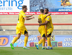 Billy Bodin of Bristol Rovers celebrates with Lee Brown and Jermaine Easter - Mandatory byline: Neil Brookman/JMP - 07966 386802 - 03/10/2015 - FOOTBALL - Globe Arena - Morecambe, England - Morecambe FC v Bristol Rovers - Sky Bet League Two