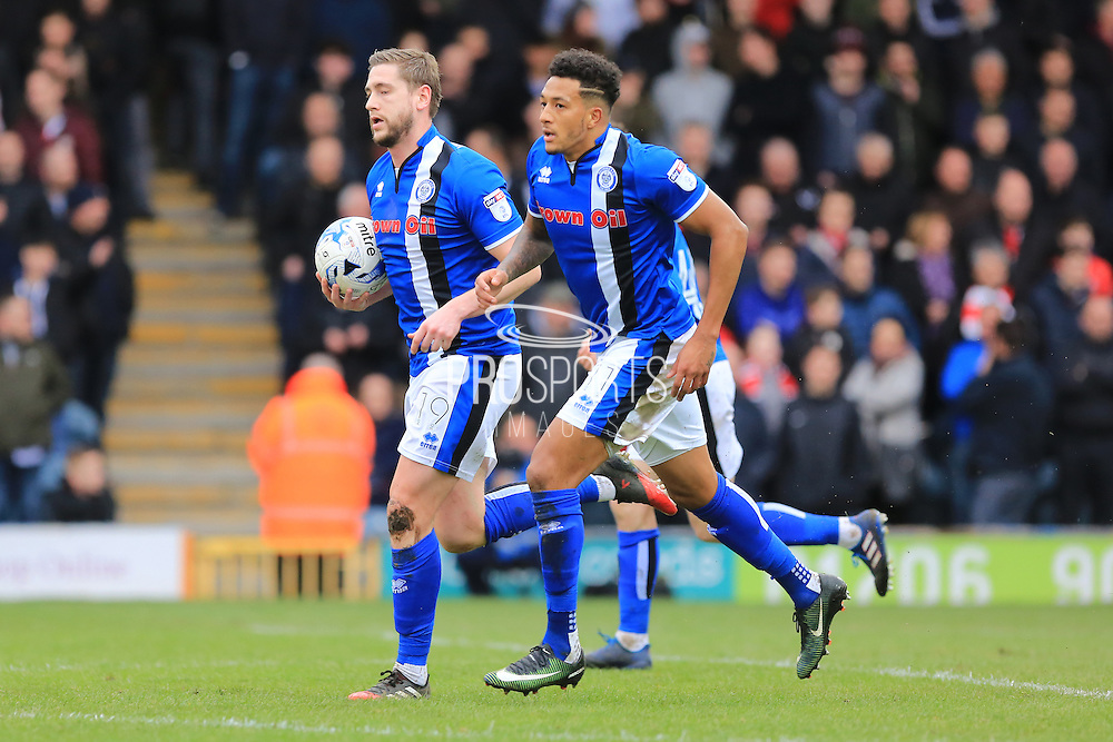 GOAL Steven Davies (19) celebrates with Nathaniel Mendez-Laing (11) after scoring 1-2 during the EFL Sky Bet League 1 match between Rochdale and Sheffield Utd at Spotland, Rochdale, England on 4 March 2017. Photo by Daniel Youngs.