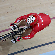 Track Cycling - Olympics: Day 8  Chao Xu of China in action wearing the chinese face on his helmet in the Men's Sprint Quarter finals during the track cycling competition at the Rio Olympic Velodrome August 12, 2016 in Rio de Janeiro, Brazil. (Photo by Tim Clayton/Corbis via Getty Images)