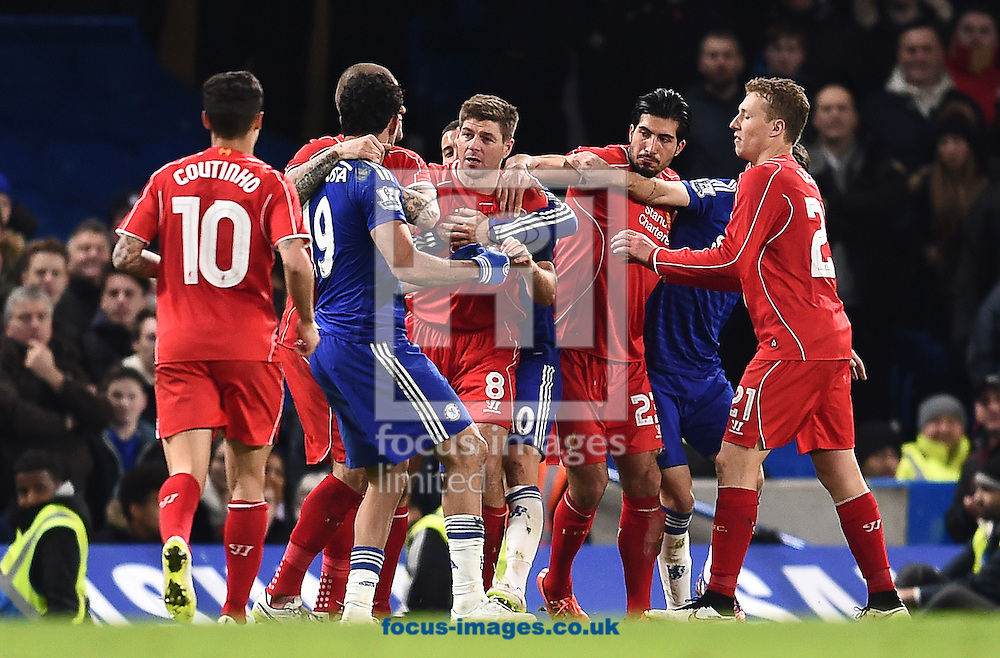 Diego Costa of Chelsea and Steven Gerrard of Liverpool during the Capital One Cup match at Stamford Bridge, London<br /> Picture by Andrew Timms/Focus Images Ltd +44 7917 236526<br /> 27/01/2015