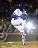CHICAGO, IL - OCTOBER 15:  Aroldis Chapman #54 of the Chicago Cubs pitches in the eighth inning against the Los Angeles Dodgers during Game 1 of NLCS at Wrigley Field on Saturday, October 15, 2016 in Chicago, Illinois. (Photo by Ron Vesely/MLB Photos via Getty Images) *** Local Caption *** Aroldis Chapman