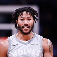 05 April 2018: Minnesota Timberwolves guard Derrick Rose (25) is seen during the Denver Nuggets 100-96 victory over the Minnesota Timberwolves, at the Pepsi Center, Denver, Colorado, USA.