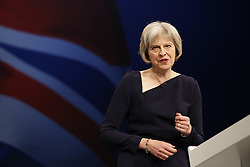 ***CAPTION CORRECTION** © Licensed to London News Pictures. 06/10/2015. Manchester, UK. Home secretary THERESA MAY speaking at Conservative Party Conference at Manchester Central in Manchester on Tuesday, 6 October 2015. Photo credit: Tolga Akmen/LNP