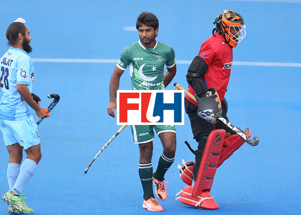 LONDON, ENGLAND - JUNE 24: Ajaz Ahmad of Pakistan celebrates scoring their teams first goal during the 5th-8th place match between Pakistan and India on day eight of the Hero Hockey World League Semi-Final at Lee Valley Hockey and Tennis Centre on June 24, 2017 in London, England. (Photo by Steve Bardens/Getty Images)