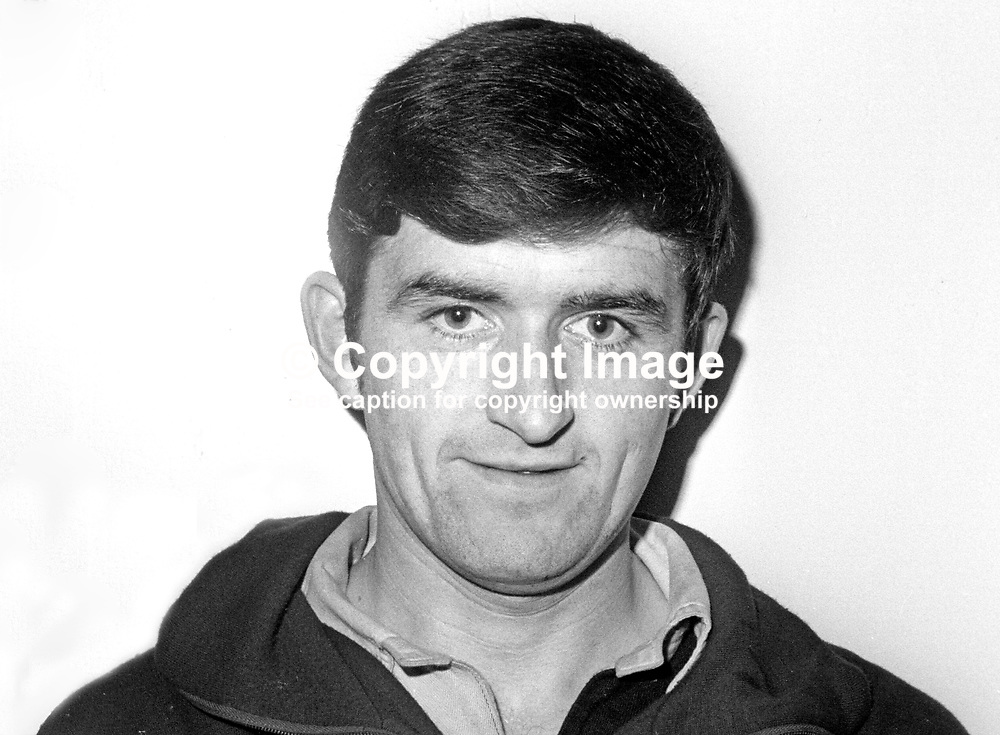 George Green, footballer, Cliftonville FC, Belfast, N Ireland, October 1968, 196810000186<br /> <br /> <br /> Copyright Image from Victor Patterson, 54 Dorchester Park, Belfast, UK, BT9 6RJ<br /> <br /> t1: +44 28 9066 1296 (from Rep of Ireland 048 9066 1296)<br /> t2: +44 28 9002 2446 (from Rep of Ireland 048 9002 2446)<br /> m: +44 7802 353836<br /> <br /> e1: victorpatterson@me.com<br /> e2: victorpatterson@gmail.com<br /> <br /> The use of my copyright images is subject to my Terms & Conditions.<br /> <br /> It is IMPORTANT that you familiarise yourself with them. They are available on my website at www.victorpatterson.com.<br /> <br /> None of my copyright images may be used on a website unless they are visibly watermarked, i.e. © Victor Patterson within the body of the visible image. Metadata denoting my copyright must NOT be deleted. <br /> <br /> Web use is extra at currently recommended NUJ rates.
