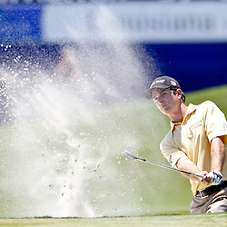 Apr 26, 2012; Avondale, LA, USA; Kevin Streelman hits out of a sand trap on the 18th hole during the first round of the Zurich Classic of New Orleans at TPC Louisiana. Mandatory Credit: Derick E. Hingle-US PRESSWIRE