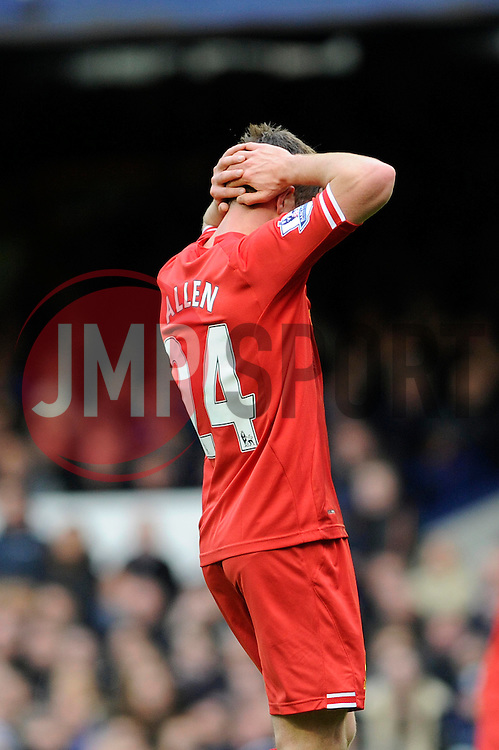 Liverpool's Joe Allen reacts after a poor miss - Photo mandatory by-line: Dougie Allward/JMP - Tel: Mobile: 07966 386802 23/11/2013 - SPORT - Football - Liverpool - Merseyside derby - Goodison Park - Everton v Liverpool - Barclays Premier League