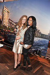 Left to right, INGRID WRISLEY and EDEN AMARE at Inception Group's Hamptons Garden Party to celebrate their collaboration with Embassy Gardens 2016 held at the Ballymore Marketing Suite, Nine Elms Lane, London on 12th July 2012.