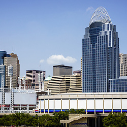 High resolution photo of Cincinnati skyline downtown city office buildings including the Great American Ballpark, Great American Insurance Group Tower, Omnicare building, PNC Tower building, US Bank building, US Bank Arean, and Scripps Center building. Photo was taken in July 2012.