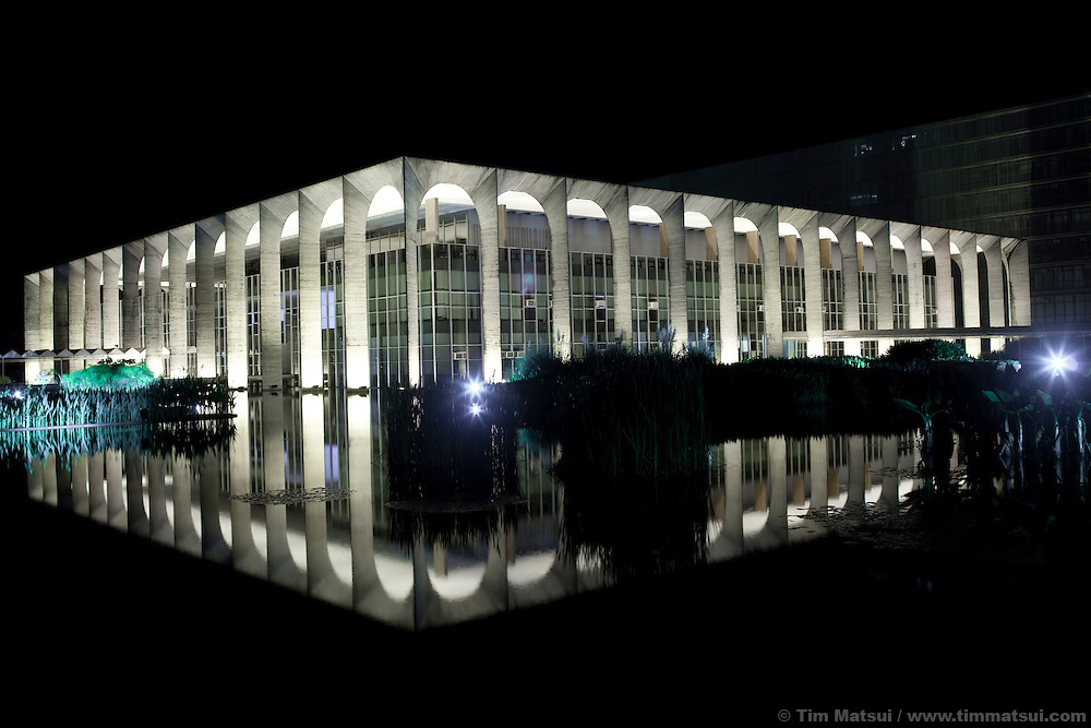 Palacio do Itamaraty (Itamaraty Palace), the building of the head office of the Ministry of Foreign Affairs, in downtown Brasilia, Brazil.