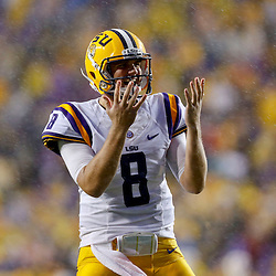 Sep 21, 2013; Baton Rouge, LA, USA; LSU Tigers quarterback Zach Mettenberger (8) against the Auburn Tigers during the first half of a game at Tiger Stadium. Mandatory Credit: Derick E. Hingle-USA TODAY Sports