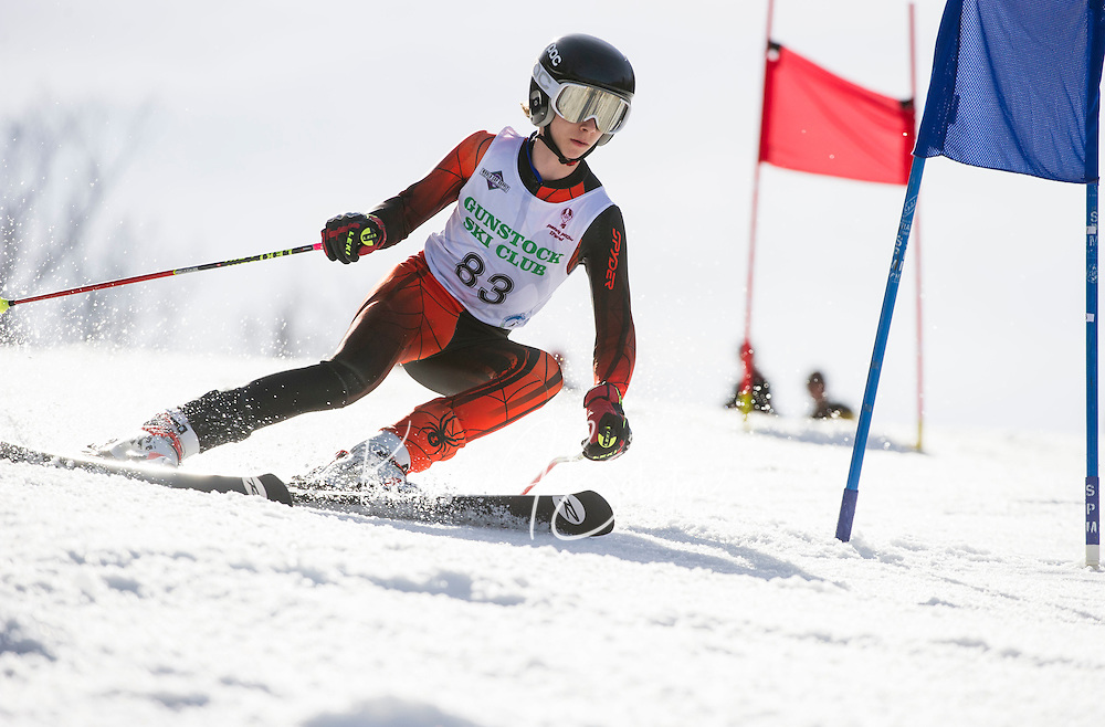 Piches Invitational U14 mens Giant Slalom with Gunstock Ski Club.  ©2016 Karen Bobotas Photographer