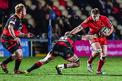 Tom Dodd of Worcester Warriors is tackled by Aaron Wainwright of Dragons - Mandatory by-line: Craig Thomas/JMP - 02/02/2018 - RUGBY - Rodney Parade - Newport, Gwent, Wales - Dragons v Worcester Warriors - Anglo Welsh Cup