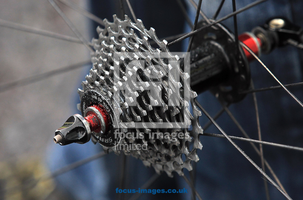 Bike detail during the 8km Individual Time Trial on Stage Four of the An Post Women's Tour of Ireland in Barefield, Ireland.<br /> Picture by Lorraine O'Sullivan/Focus Images Ltd +353 872341584<br /> 12/09/2015