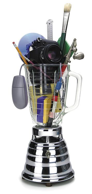 vintage blender with graphic design tools inside