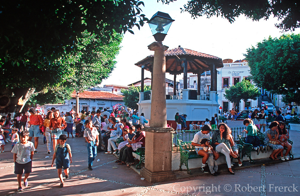 MEXICO, COLONIAL CITIES, TAXCO the Plaza Borda with its bandshell is the city's main plaza and the center of activity