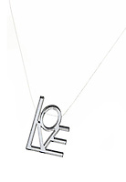 love necklace with clear letters on a clear strand