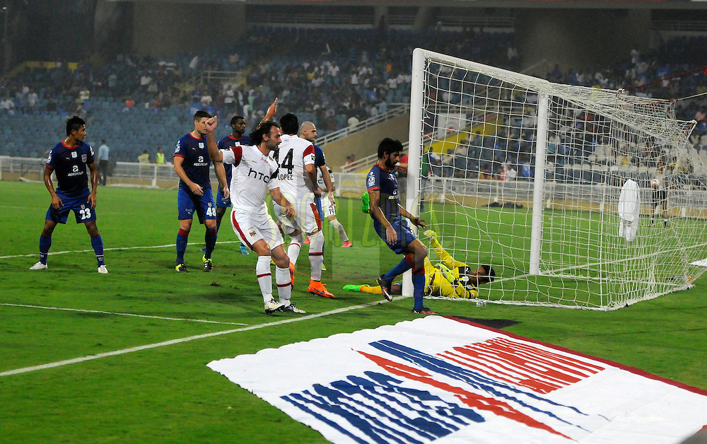 Pitch matt during match 23 of the Indian Super League (ISL) season 2  between Mumbai City FC and NorthEast United FC held at the D.Y. Patil Stadium, Navi Mumbai, India on the 28th October 2015.<br /> <br /> Photo by Pal Pillai / ISL/ SPORTZPICS