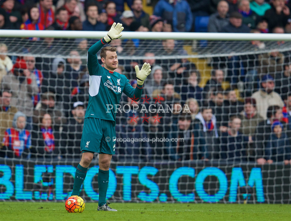 LONDON, ENGLAND - Sunday, March 6, 2016: Liverpool's goalkeeper Simon Mignolet in action against Crystal Palace during the Premier League match at Selhurst Park. (Pic by David Rawcliffe/Propaganda)