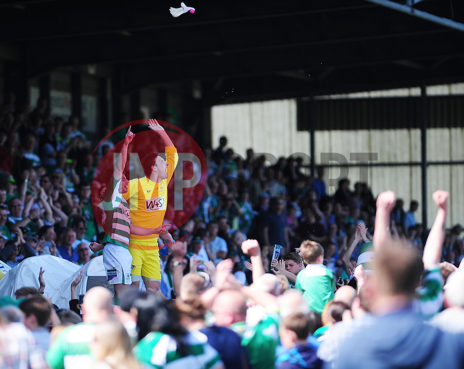 Yeovil Town's Marek Stech throws his goalkeeper gloves into the crowd whilst celebrating after the game - Photo mandatory by-line: Dougie Allward/JMP - Tel: Mobile: 07966 386802 06/05/2013 - SPORT - FOOTBALL - Huish Park - Yeovil - Yeovil Town V Sheffield United - NPOWER LEAGUE ONE PLAY-OFF SEMI-FINAL SECOND LEG