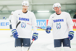 Ziga Pavlin and Tomaz Razingar during practice session of Slovenian National Ice Hockey Team 1 day prior to the 2015 IIHF World Championship in Czech Republic, on April 30, 2015 in Practice arena Ostrava, Czech Republic. Photo by Vid Ponikvar / Sportida
