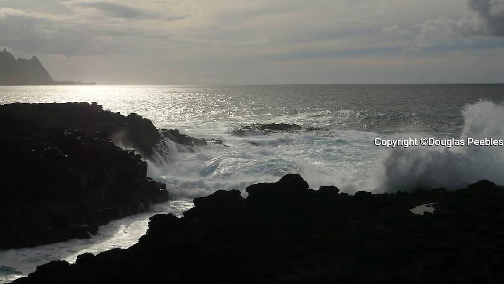 Shoreline, Wave, sunset, Hanalei, Kauai, Hawaii