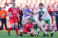11th November 2018 , Racecourse Ground,  Wrexham, Wales ;  Rugby League World Cup Qualifier,Wales v Ireland ; Dan Fleming of Wales is tackled by George King of Ireland <br /> <br /> <br /> Credit:   Craig Thomas/Replay Images