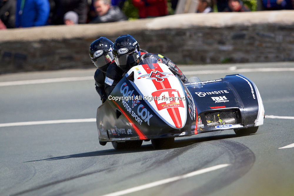 08.06.2015. Douglas, Isle of Man. 2015 Isle of Man TT Races. Colin Buckley and Robbie Shorter in action during the TT Sidecar race.