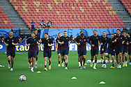 The England squad warm up with Rickie Lambert, Steven Gerrard, James Milner, Phil Jones, Phil Jagielka, Chris Smalling, Wayne Rooney and Frank Lampard  during the England open training session at Arena da Amazonia, Manaus, Brazil. <br /> Picture by Andrew Tobin/Focus Images Ltd +44 7710 761829<br /> 13/06/2014