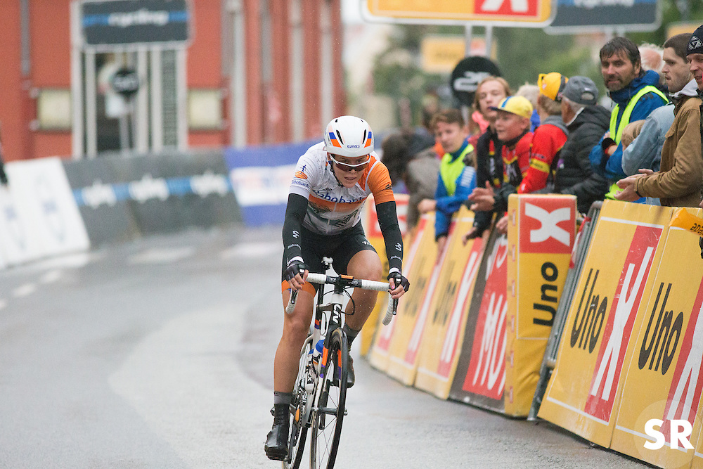 Thalita de Jong (NED) of Rabo-Liv Cycling Team finishes in second place the 76,1 km first stage of the 2016 Ladies' Tour of Norway women's road cycling race on August 12, 2016 between Halden and Fredrikstad, Norway. (Photo by Balint Hamvas/Velofocus)