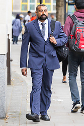PC Avi Maharaj, 44, arrives at Westminster Magistrates Court for sentencing after pleading guilty to one count of fraud relating to use of a member of the public's cable television account to purchase porn as he guarded the body of a deceased teenager , awaiting the arrival of undertakers. London, August 06 2019.