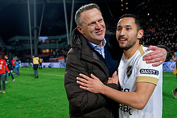 Coach John van den Brom # of FC Utrecht, Mark van der Maarel #2 of FC Utrecht celebrate after the semi final KNVB Cup between FC Utrecht and Ajax Amsterdam at Stadion Nieuw Galgenwaard on March 04, 2020 in Amsterdam, Netherlands