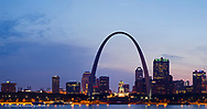 Panoramic of the skyline at dusk in St Louis, Missouri, USA