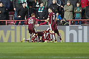 Hearts FC Midfielder Arnaud Djoum celebrates the first goal during the Scottish Cup 5th round match between Heart of Midlothian and Hibernian at Tynecastle Stadium, Gorgie, Scotland on 7 February 2016. Photo by Craig McAllister.